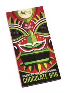 Lifefood Bio raw čokoláda s ořechy a třešněmi 70 g