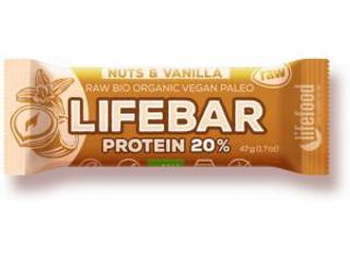 Lifefood Lifebar Protein bio tyčinka vanilka s lískovými oříšky 47g