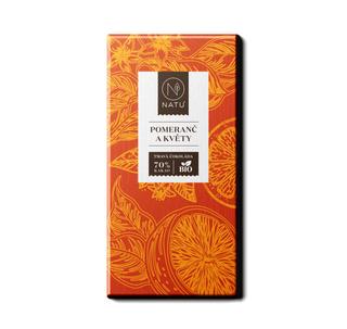 NATU Hořká čokoláda pomeranč a květy 45g Bio
