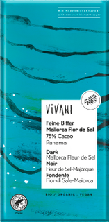 Vivani Hořká čokoláda se solí Flor de Sal 80g Bio