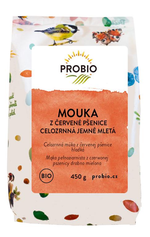 PROBIO Mouka z červené pšenice celozrnná jemně mletá 450g Bio